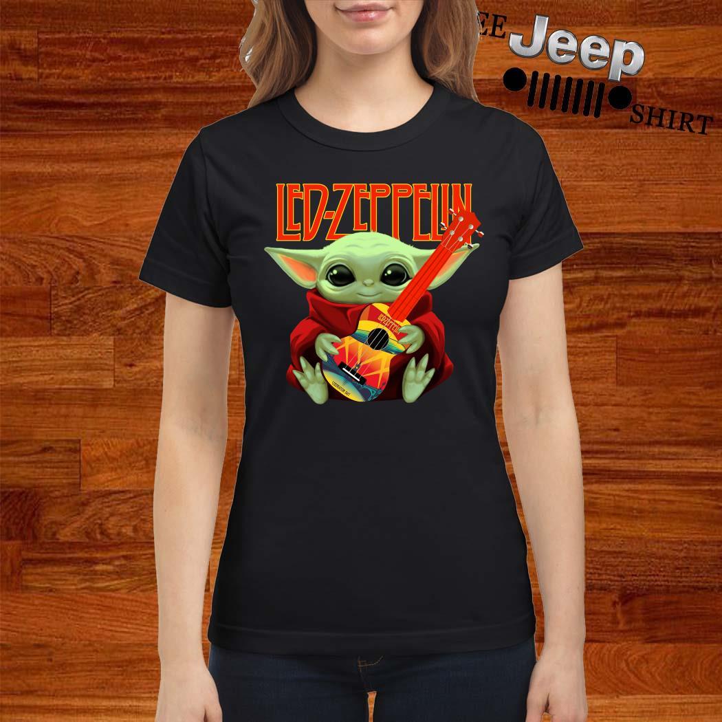 Baby Yoda Hug Led-zeppelin Guitar Ladies Shirt