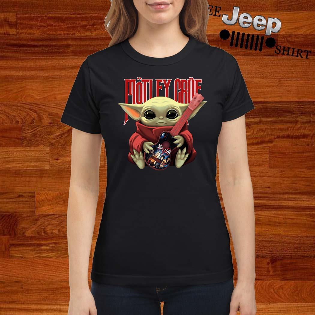 Baby Yoda Hug Motley Crue Ladies Shirt
