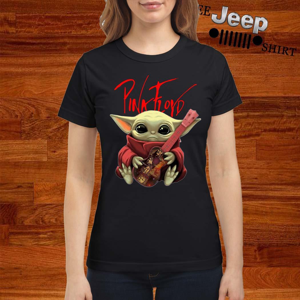 Baby Yoda Hug Pink Floyd Guitar Ladies Shirt