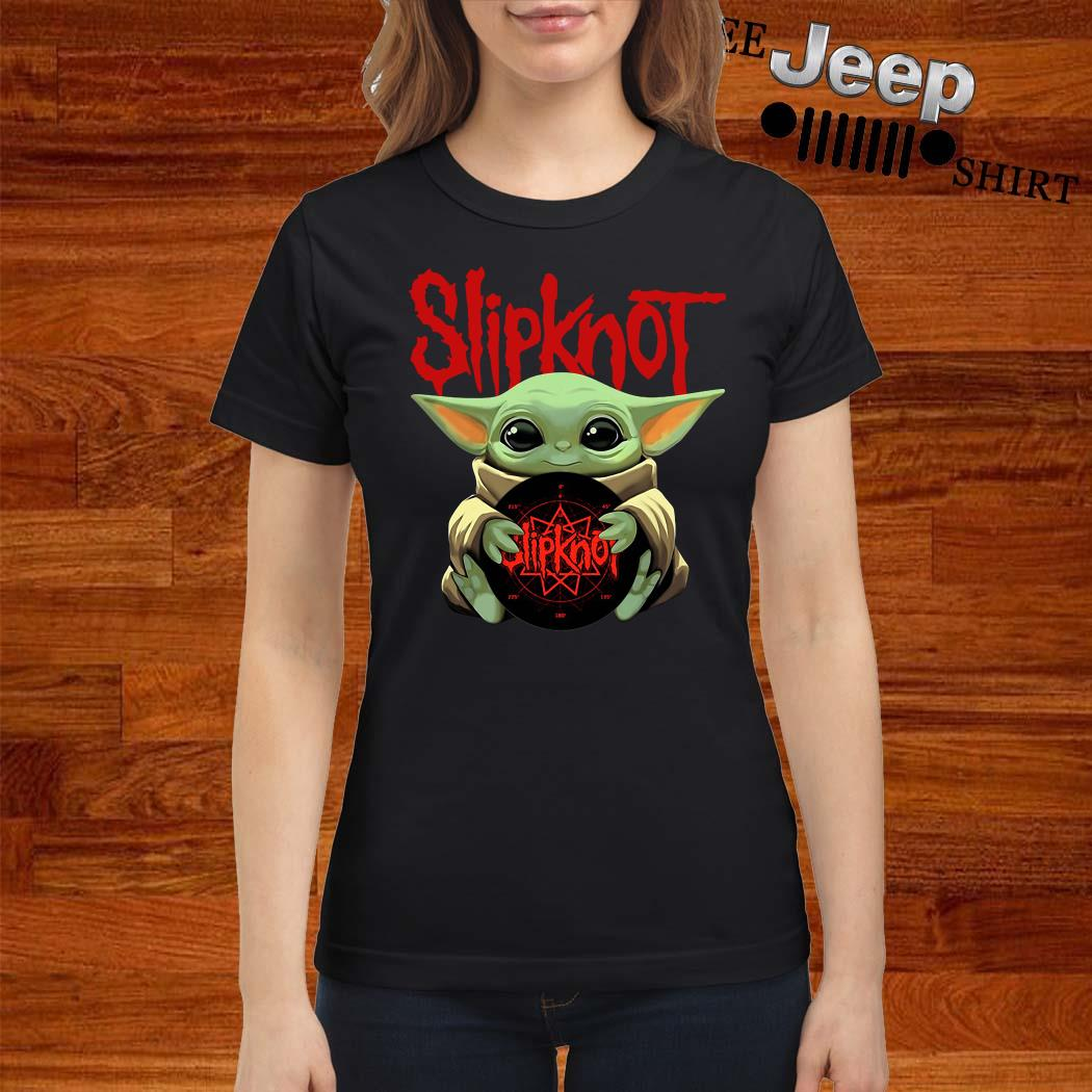 Baby Yoda Hug Slipknot Ladies Shirt