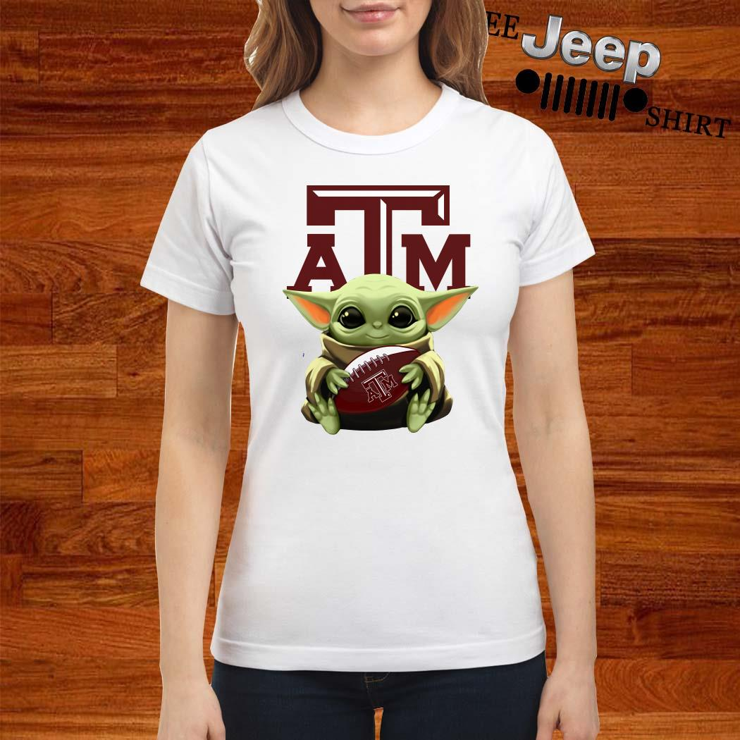 Baby Yoda Hug Texas A&M Aggies Ladies Shirt