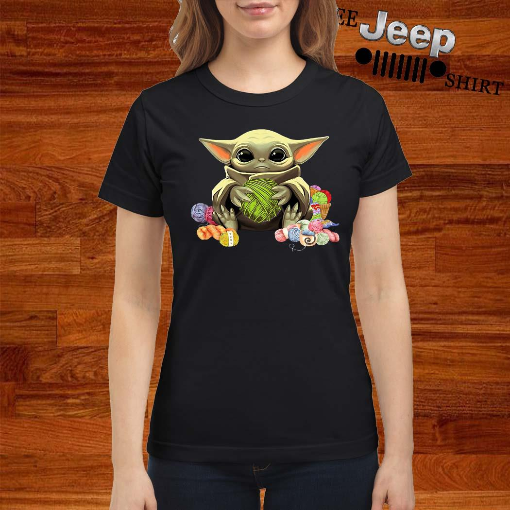 Baby Yoda Hug Wool Rolls Ladies Shirt