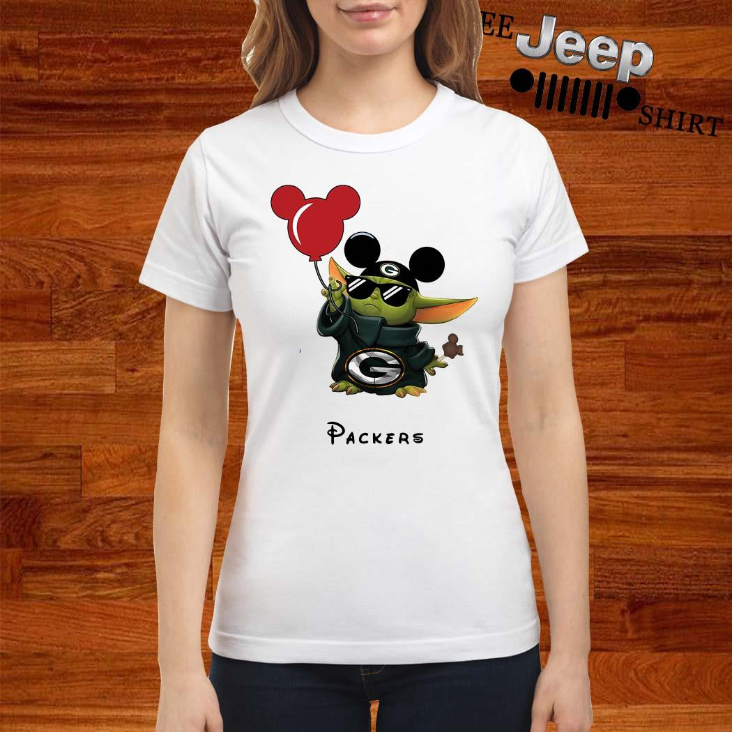 Baby Yoda Mickey Mouse Green Bay Packers Ladies Shirt