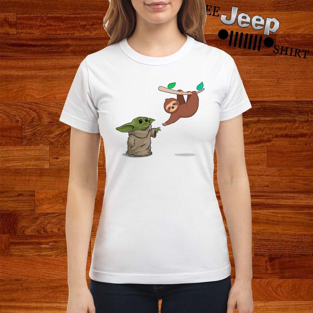 Baby Yoda And Sloth Ladies Shirt
