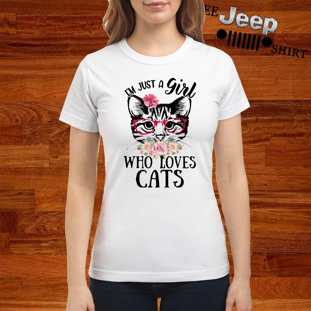 I'm Just A Girl Who Loves Cats Floral Ladies Shirt