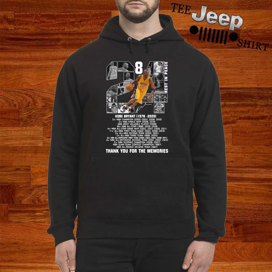 Kobe Bryant 1978 2020 Thank You For The Memories Signature Hoodie