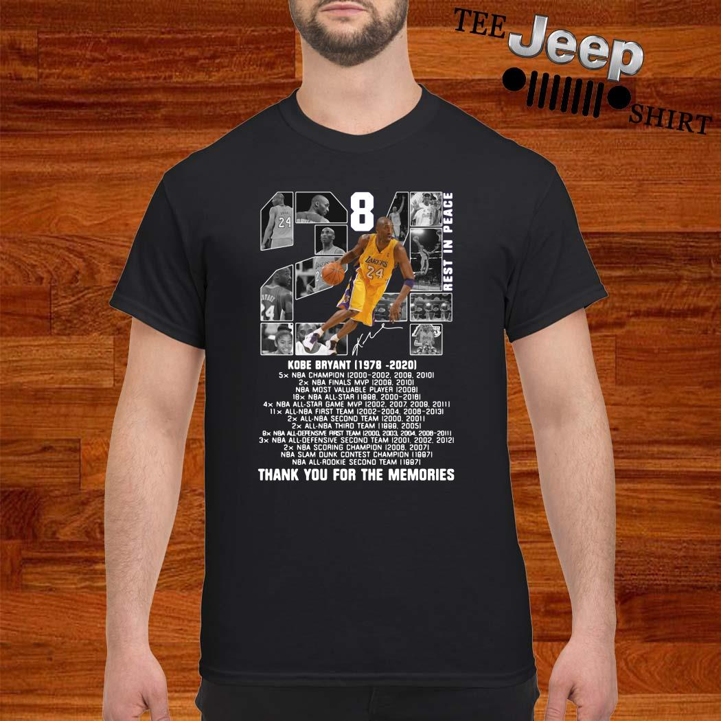 Kobe Bryant 1978 2020 Thank You For The Memories Signature Shirt