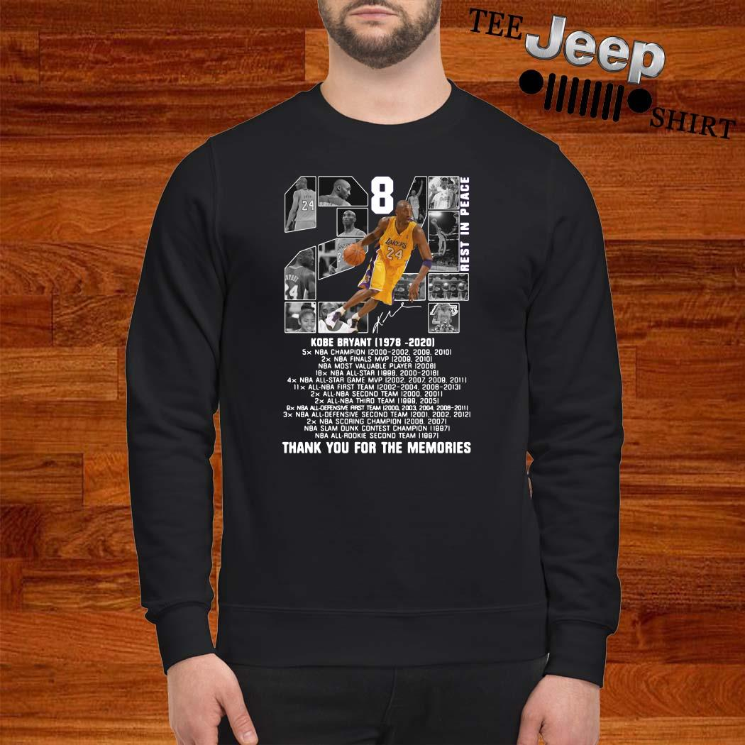 Kobe Bryant 1978 2020 Thank You For The Memories Signature Sweatshirt