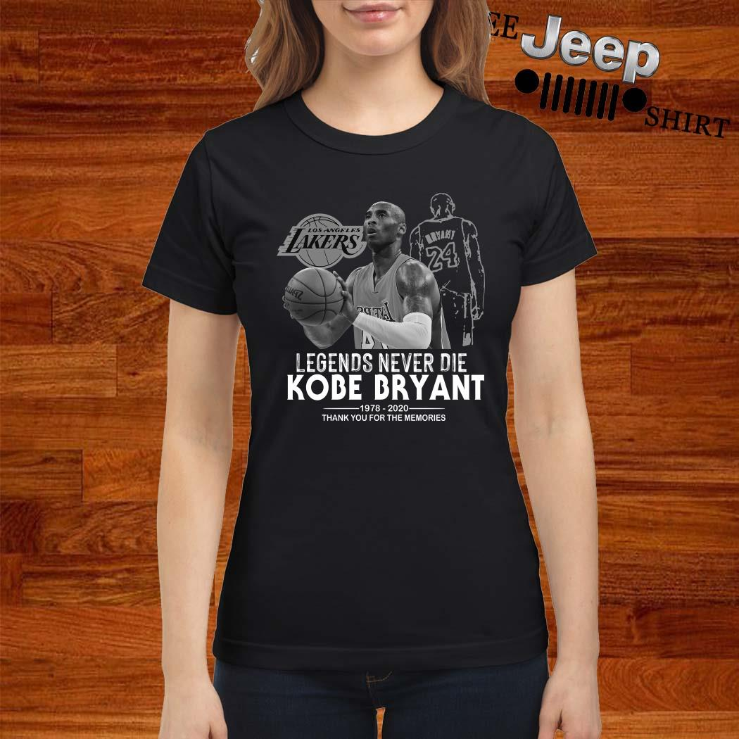 Kobe Bryant Legends Never Die 1978 2020 Thank You For The Memories Ladies Shirt