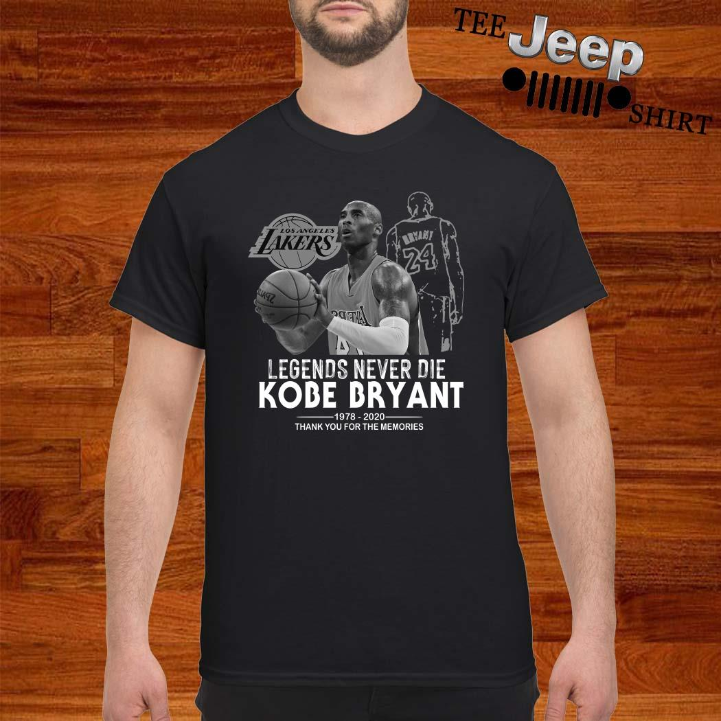 Kobe Bryant Legends Never Die 1978 2020 Thank You For The Memories Shirt