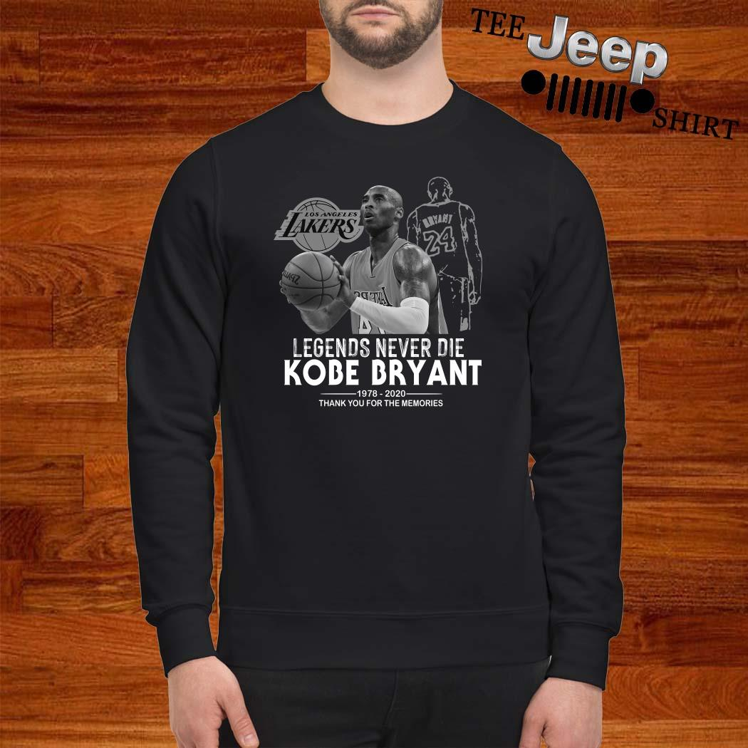 Kobe Bryant Legends Never Die 1978 2020 Thank You For The Memories Sweatshirt