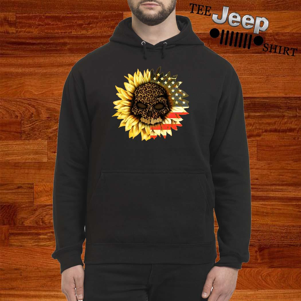 Leopard Print Skull In Sunflower American Flag Hoodie