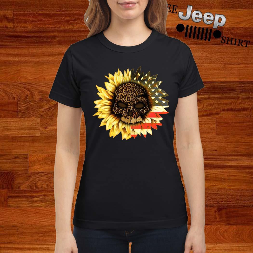 Leopard Print Skull In Sunflower American Flag Ladies Shirt