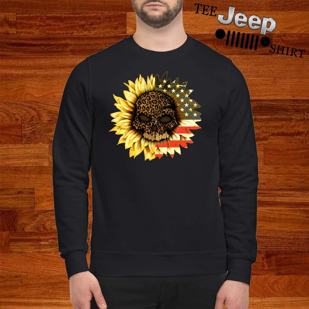 Leopard Print Skull In Sunflower American Flag Sweatshirt