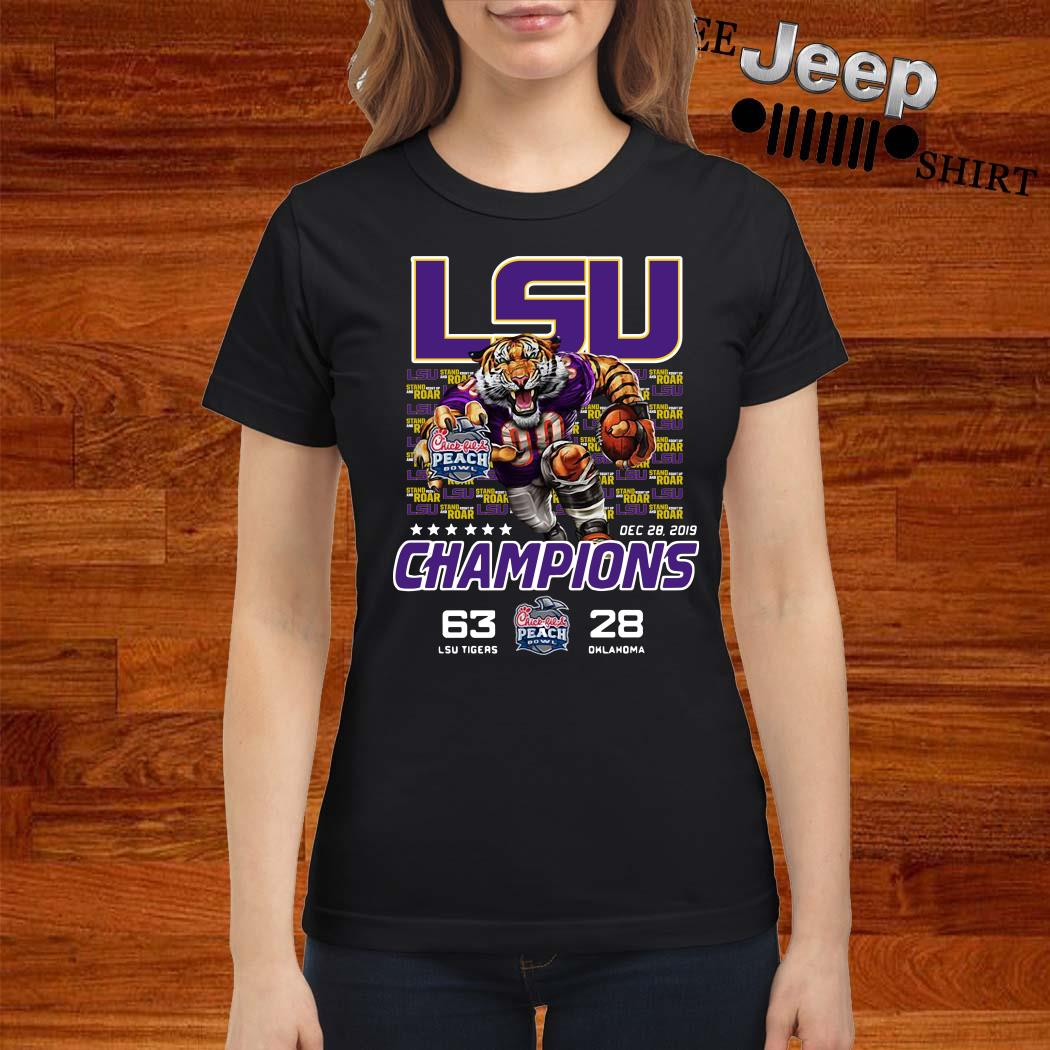 LSU Tigers 2019 Peach Bowl Champions Ladies Shirt