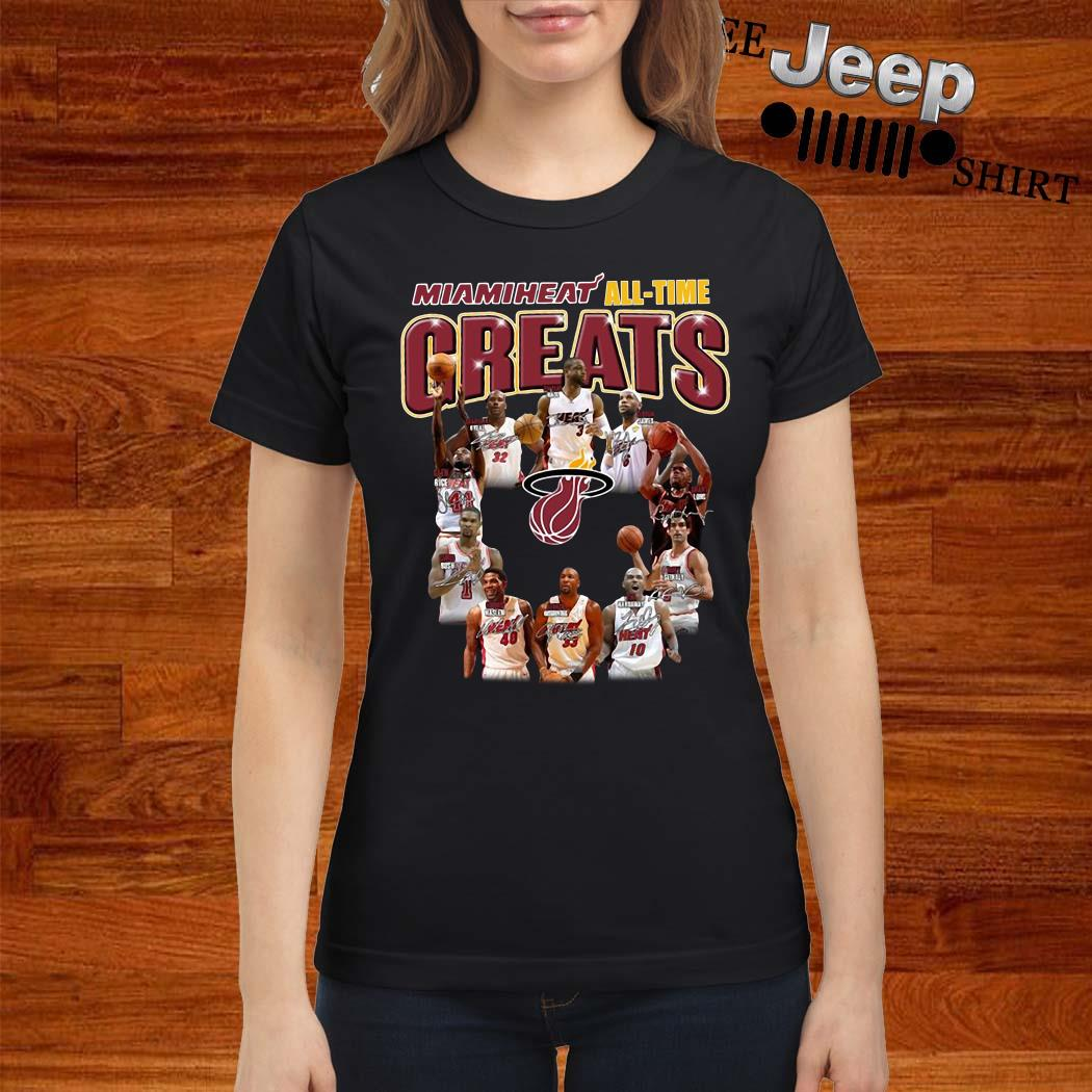 Miami Heat All-time Greats Player Signatures Ladies Shirt