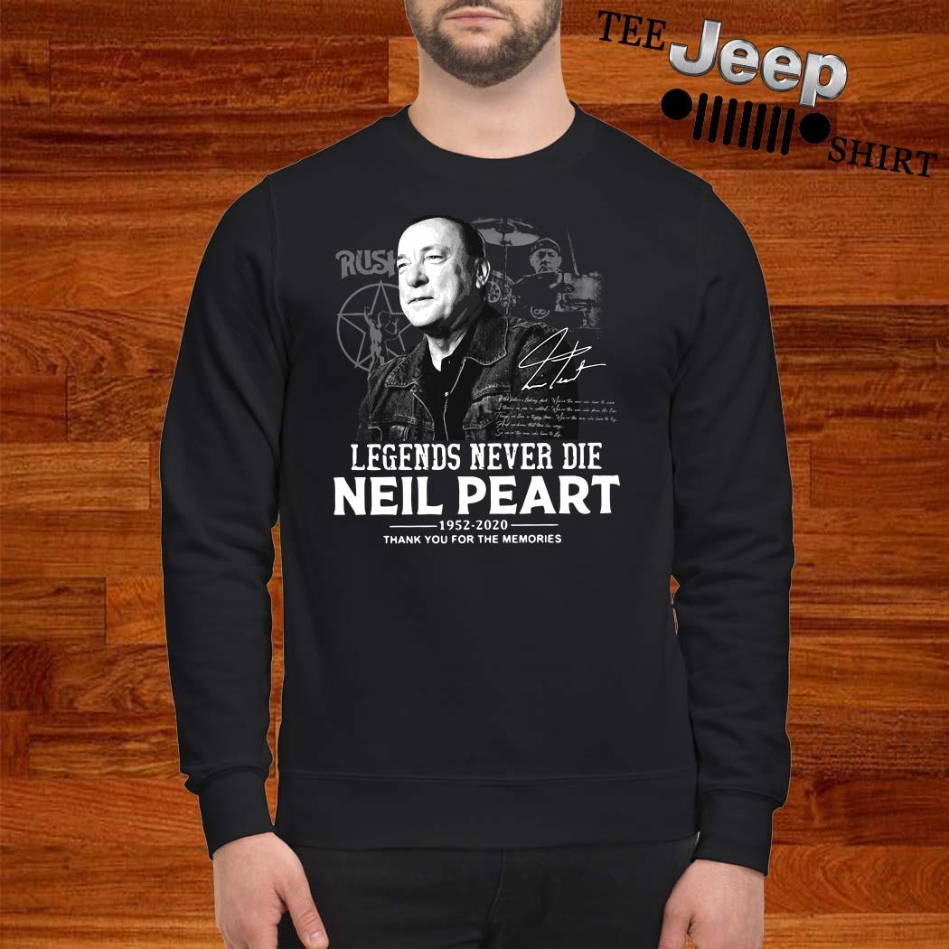 Neil Peart Legends Never Die 1952 2020 Thank You For The Memories Sweatshirt