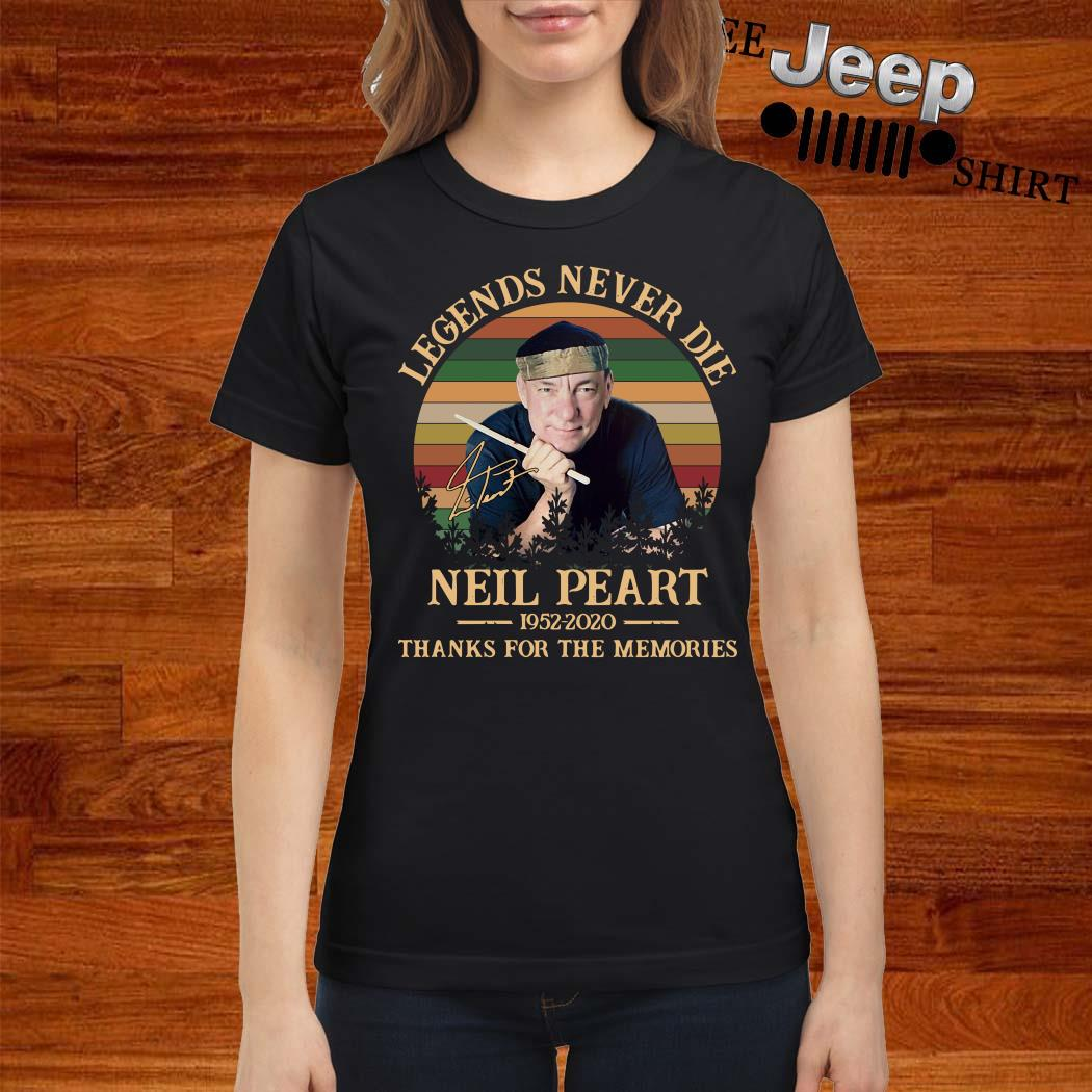 Neil Peart Legends Never Die 1952 2020 Thank You For The Memories Vintage Ladies Shirt
