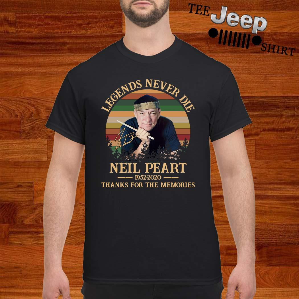 Neil Peart Legends Never Die 1952 2020 Thank You For The Memories Vintage Shirt