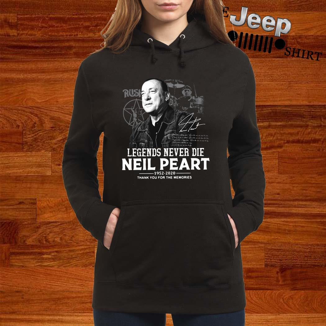 Neil Peart Legends Never Die 1952 2020 Thank You For The Memories Hoodie
