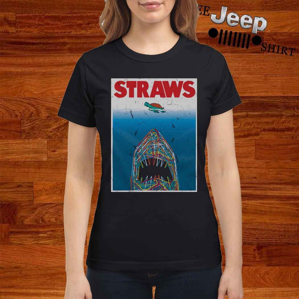 Shark Plastic Straws Save The Turtle Ladies Shirt