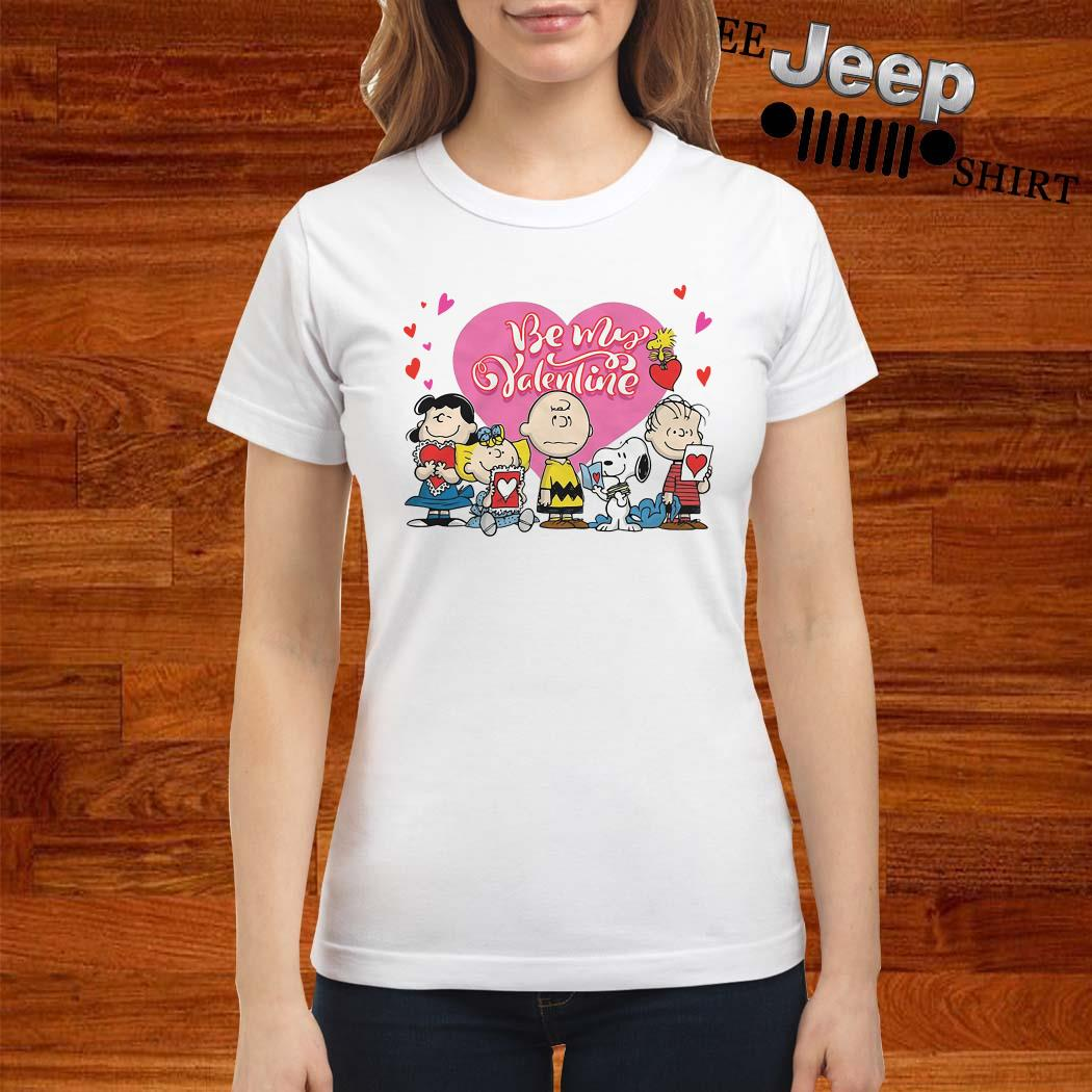 Snoopy Charlie Brown And Woodstock Be My Valentine Ladies Shirt