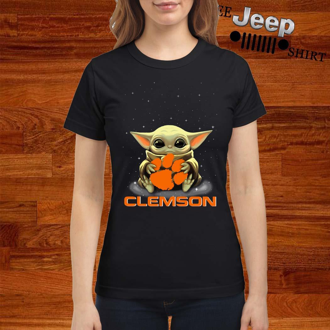 Star Wars Baby Yoda Hug Clemson Tigers Ladies Shirt