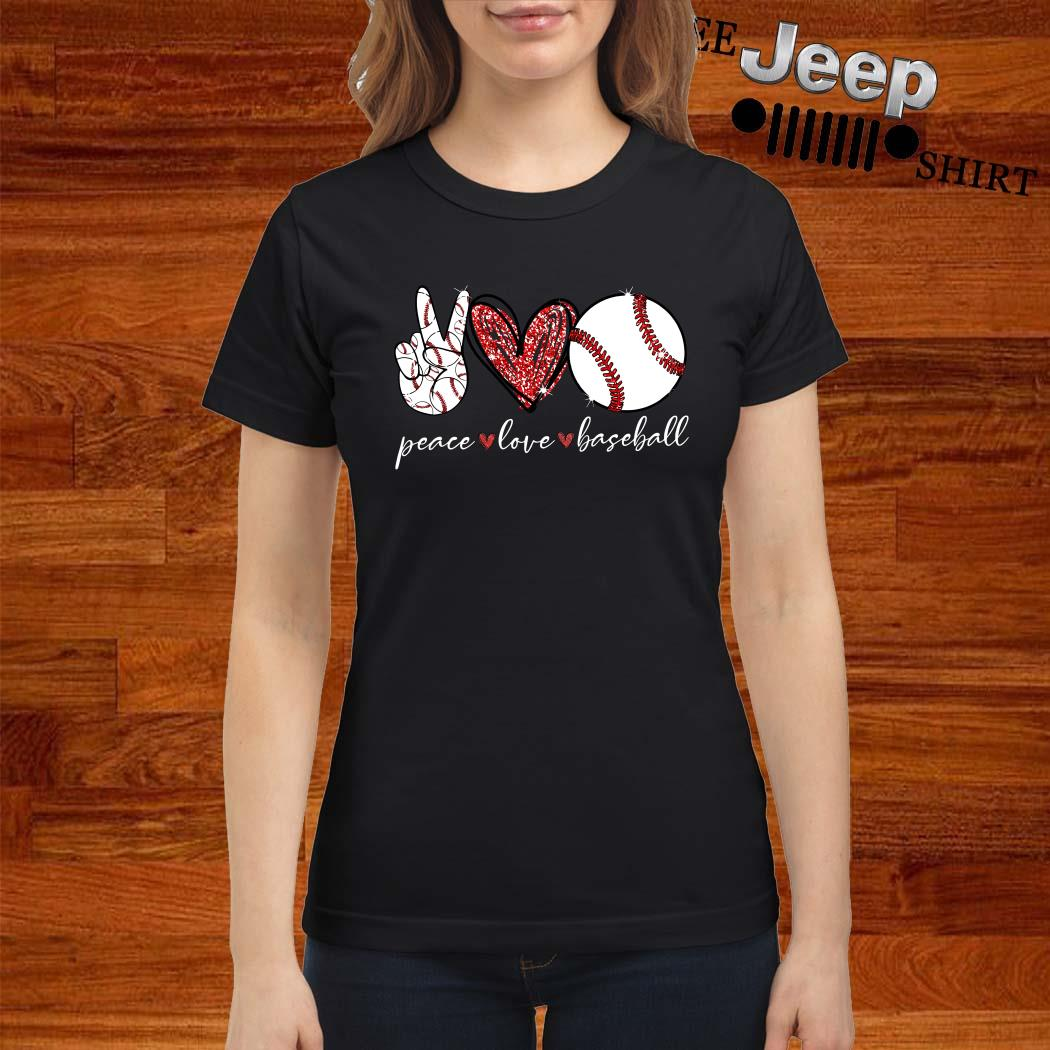 Diamond Peace Love Baseball Ladies Shirt