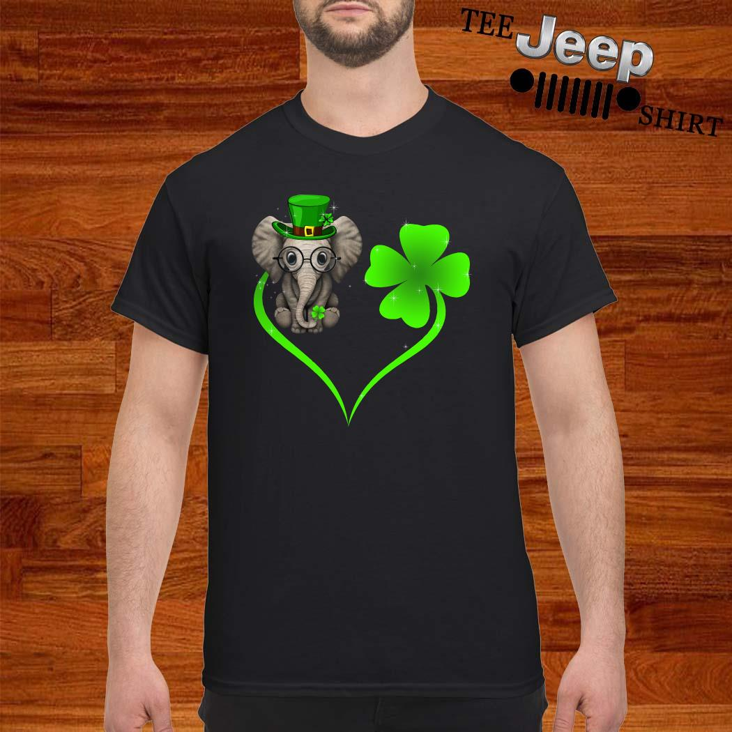 Elephant Lucky Heart Shamrock St Patrick's Day Shirt