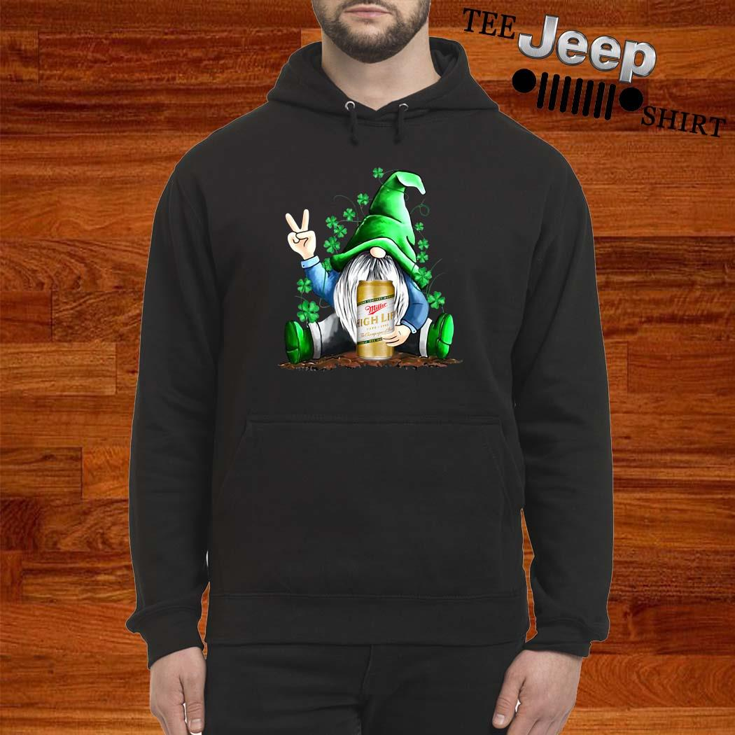 Gnomes Lucky Hug Miller High Life St Patrick's Day Hoodie
