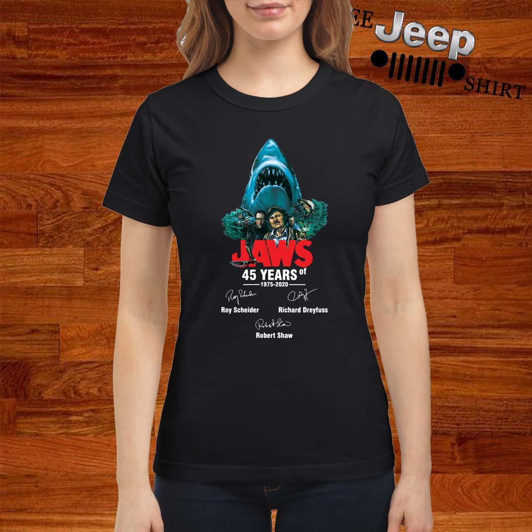 Jaws 45 Years Of 1975 2020 Signatures Ladies Shirt