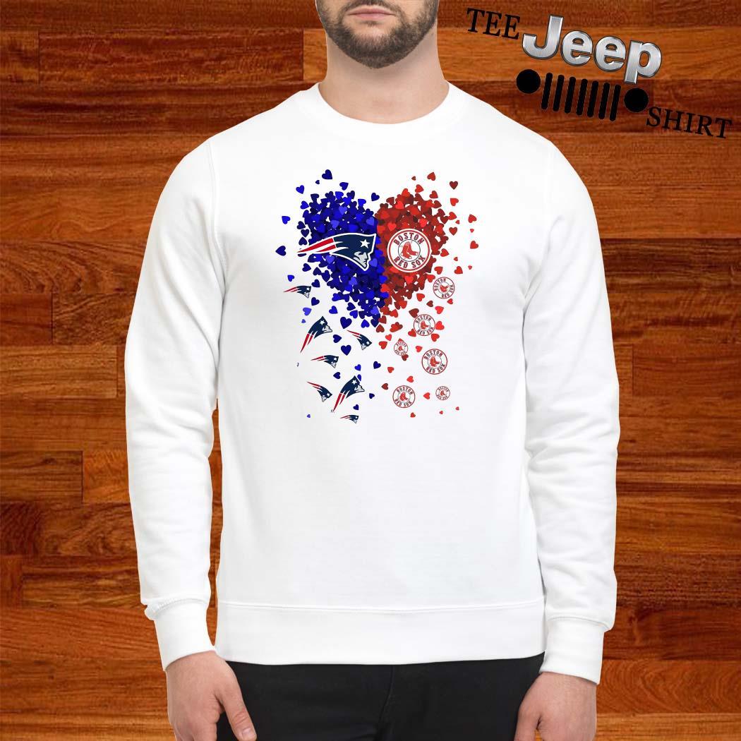 New England Patriots And Boston Red Sox Tiny Hearts Shape Sweatshirt
