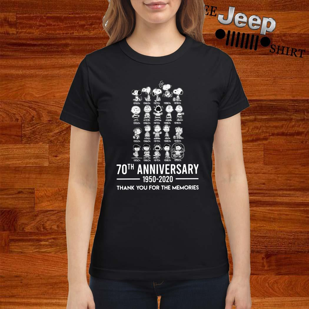 Peanuts 70th Anniversary 1950 2020 Thank You For The Memories Ladies Shirt