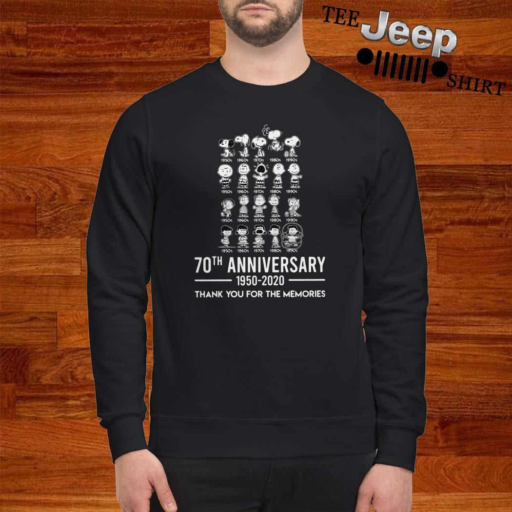 Peanuts 70th Anniversary 1950 2020 Thank You For The Memories Sweatshirt