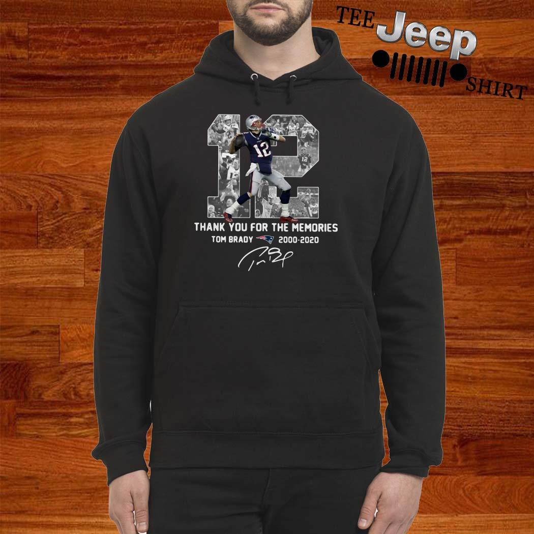 12 Tom Brady 2000 2020 Thank You For The Memories Signature Hoodie