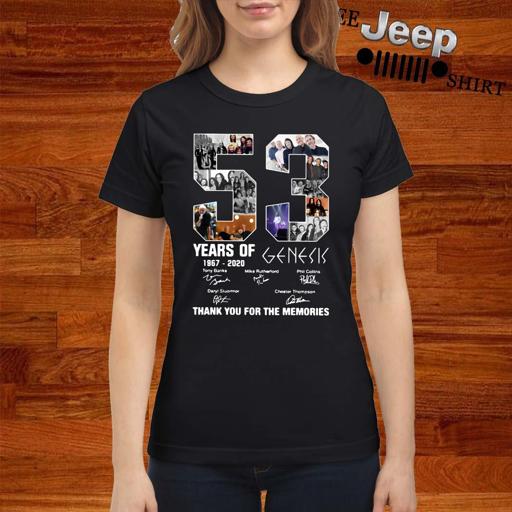 53 Years Of 1967 2020 Genesis Thank You For The Memories Ladies Shirt