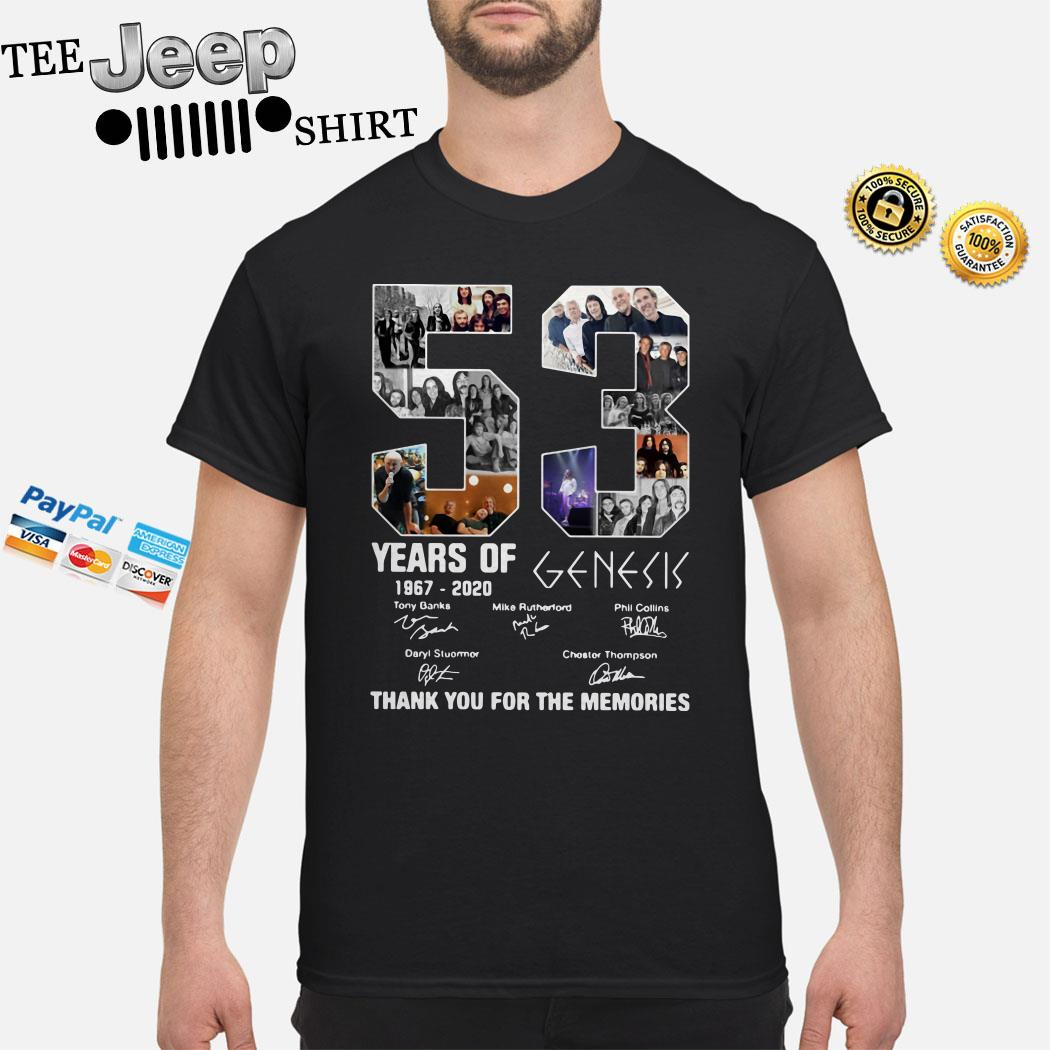 53 Years Of 1967 2020 Genesis Thank You For The Memories Shirt