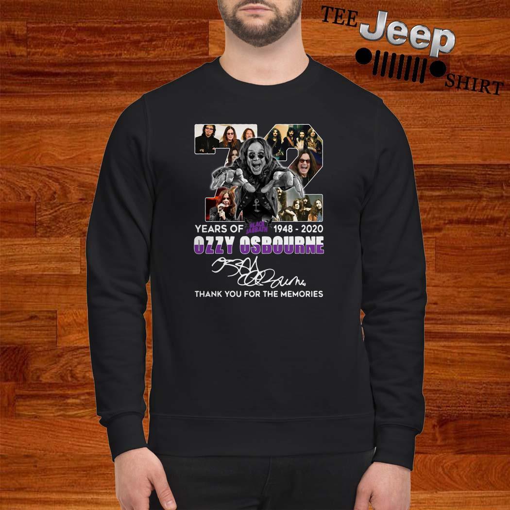 72 Years Of Black Sabbath 1948 2020 Ozzy Osbourne Thank You For The Memories Sweatshirt