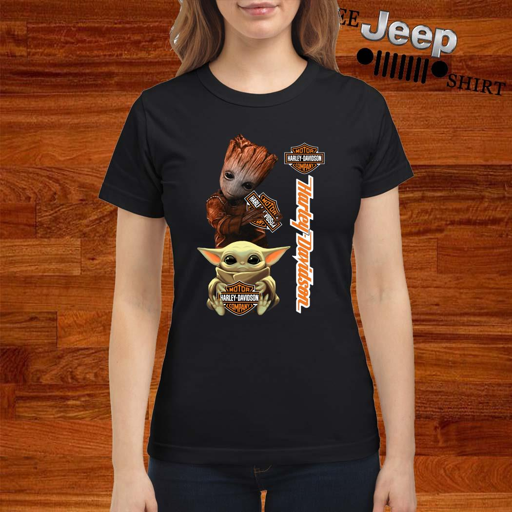 Baby Groot And Baby Yoda Hug Harley Davidson Ladies Shirt
