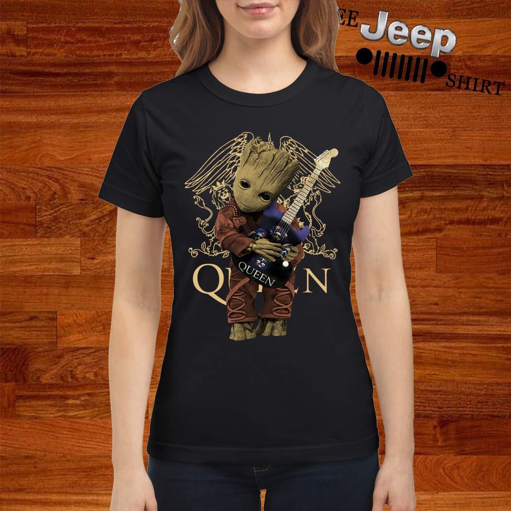 Baby Groot Hug Queen Guitar Ladies Shirt