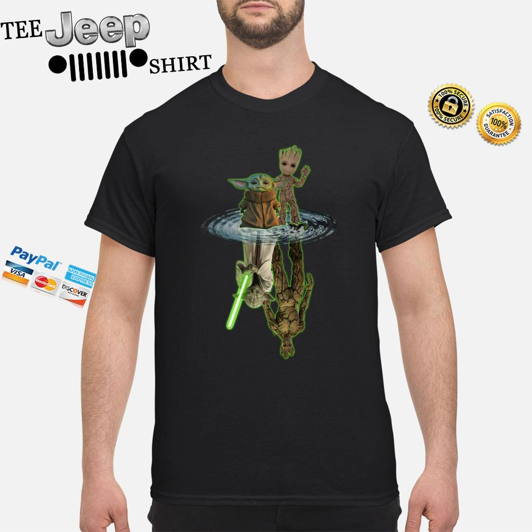 Baby Yoda And Baby Groot Water Reflection Master Yoda And Groot Shirt
