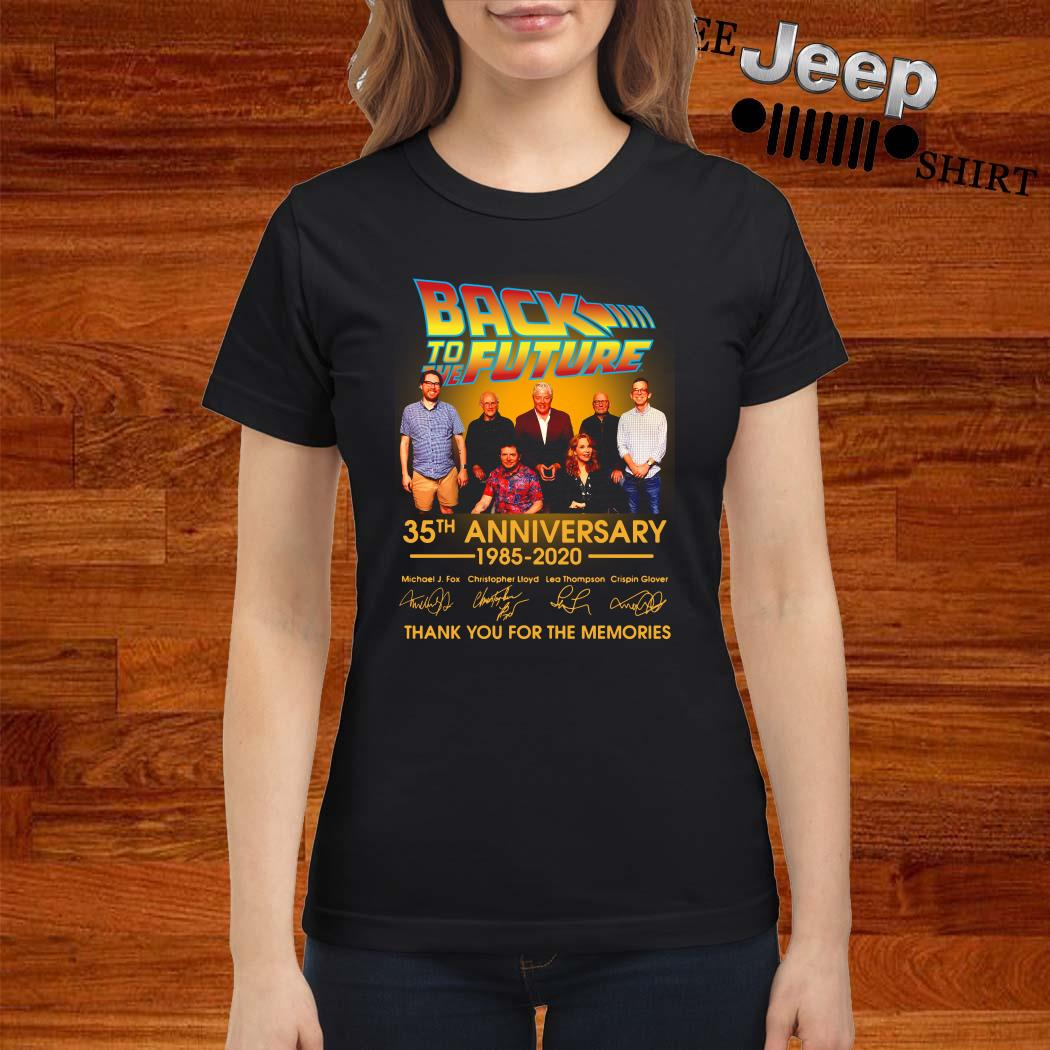 Back To The Future 35th Anniversary 1985-2020 Signature Thank You For The Memories ladies Shirt