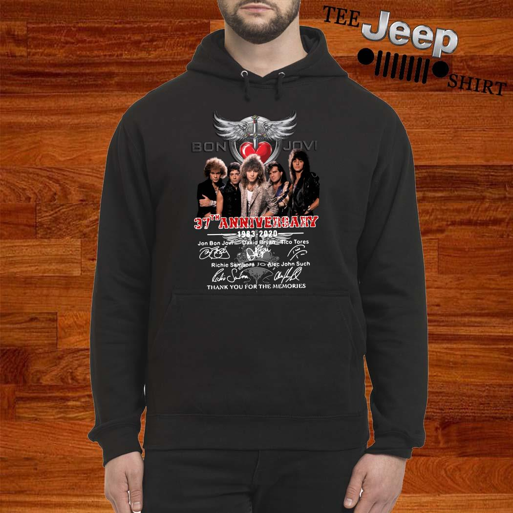 Bon Jovi 37th Anniversary 1983 2020 Thank You For The Memories Signatures Hoodie