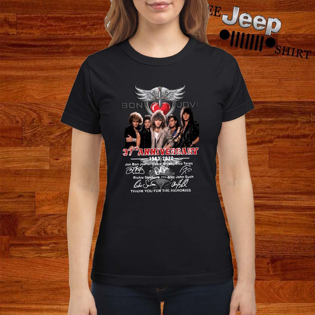Bon Jovi 37th Anniversary 1983 2020 Thank You For The Memories Signatures Ladies Shirt