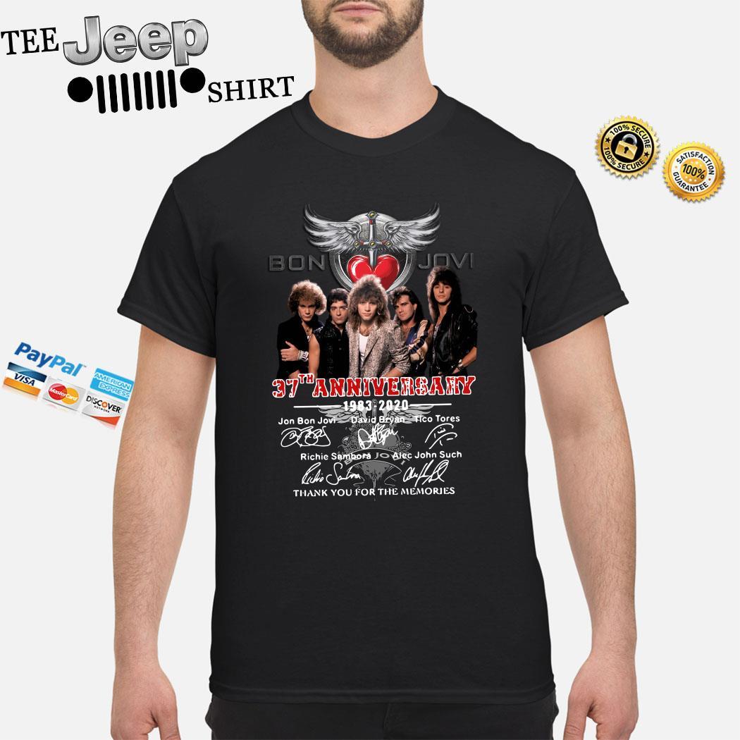 Bon Jovi 37th Anniversary 1983 2020 Thank You For The Memories Signatures Shirt