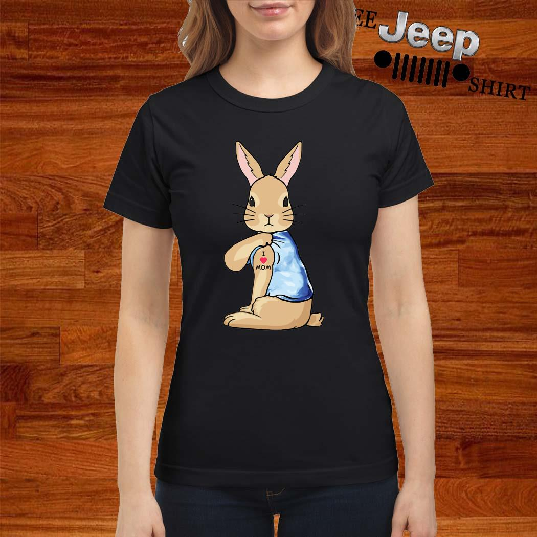 Bunny I Love Mom Tattoo Ladies Shirt