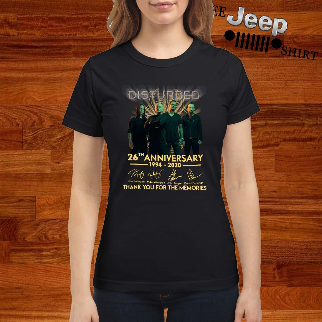 Disturbed 26th Anniversary 1994 2020 Thank You For The Memories Ladies Shirt