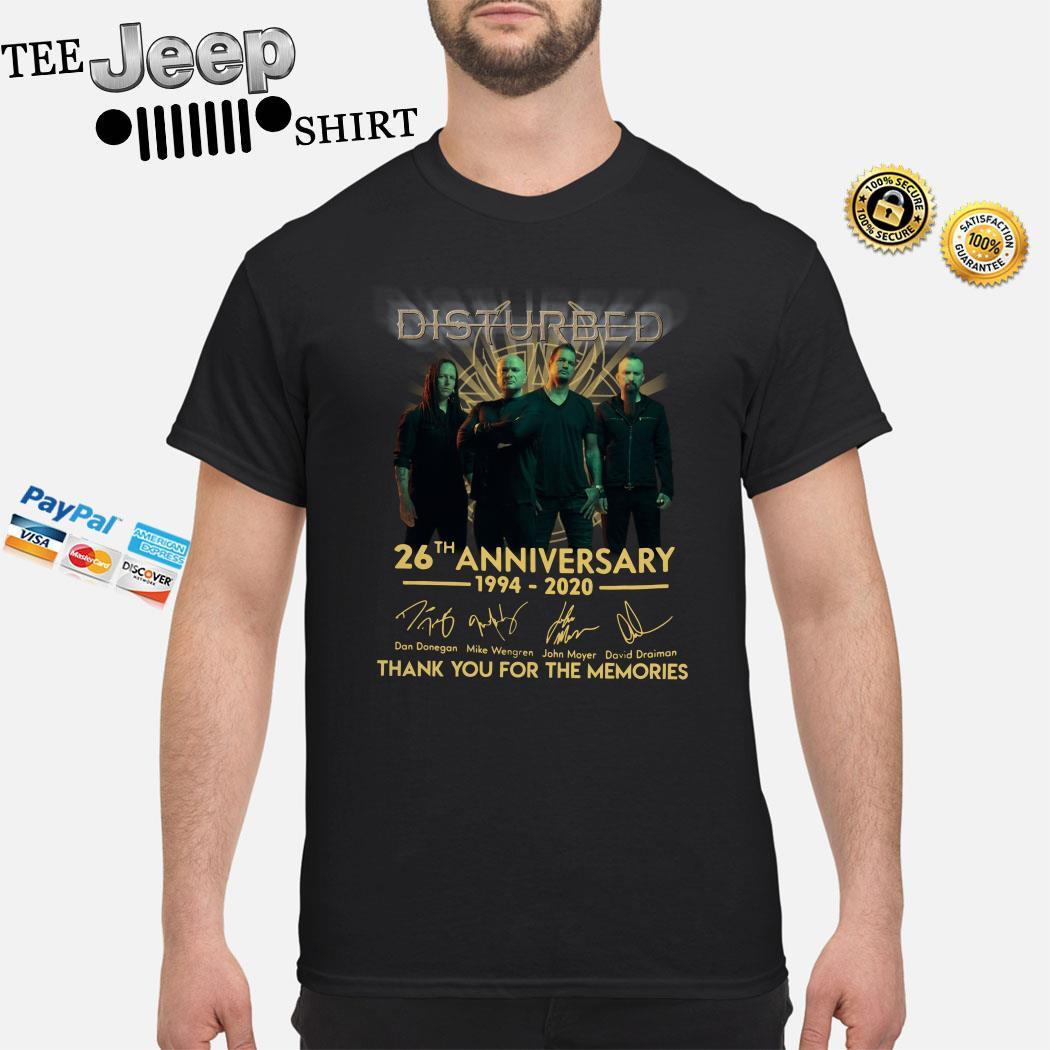 Disturbed 26th Anniversary 1994 2020 Thank You For The Memories Shirt