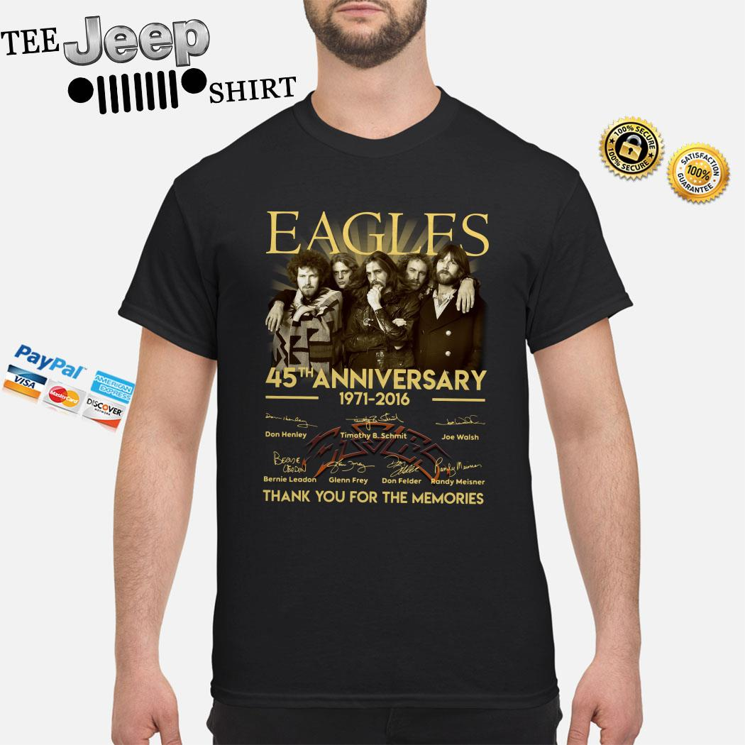 Eagles 45th Anniversary 1971 2016 Thank You For The Memories Shirt