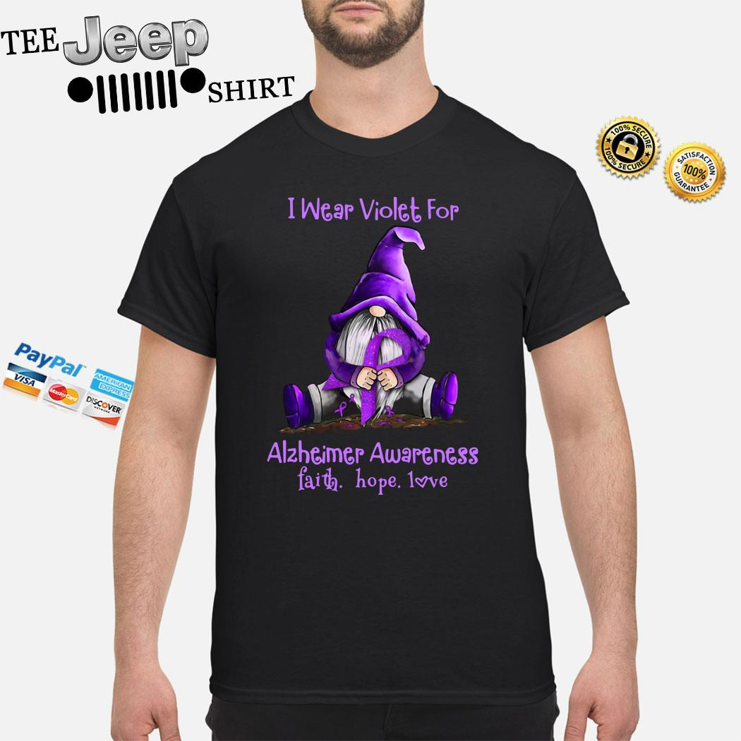 Gnome I Wear Violet For Alzheimer Awareness Faith Hope Love Shirt